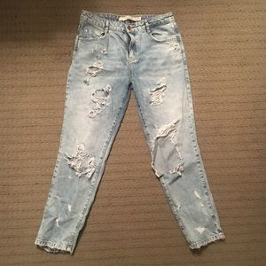 Zara distresses light wash jeans